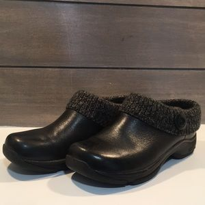 Dansko Black Clogs With Knit Ankle Size 38/ 7 1/2